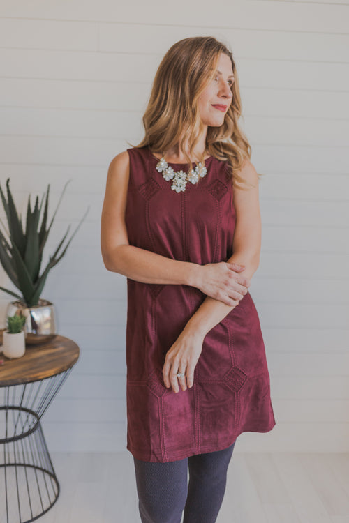 Dark Berry Faux Suede Embroidered Dress