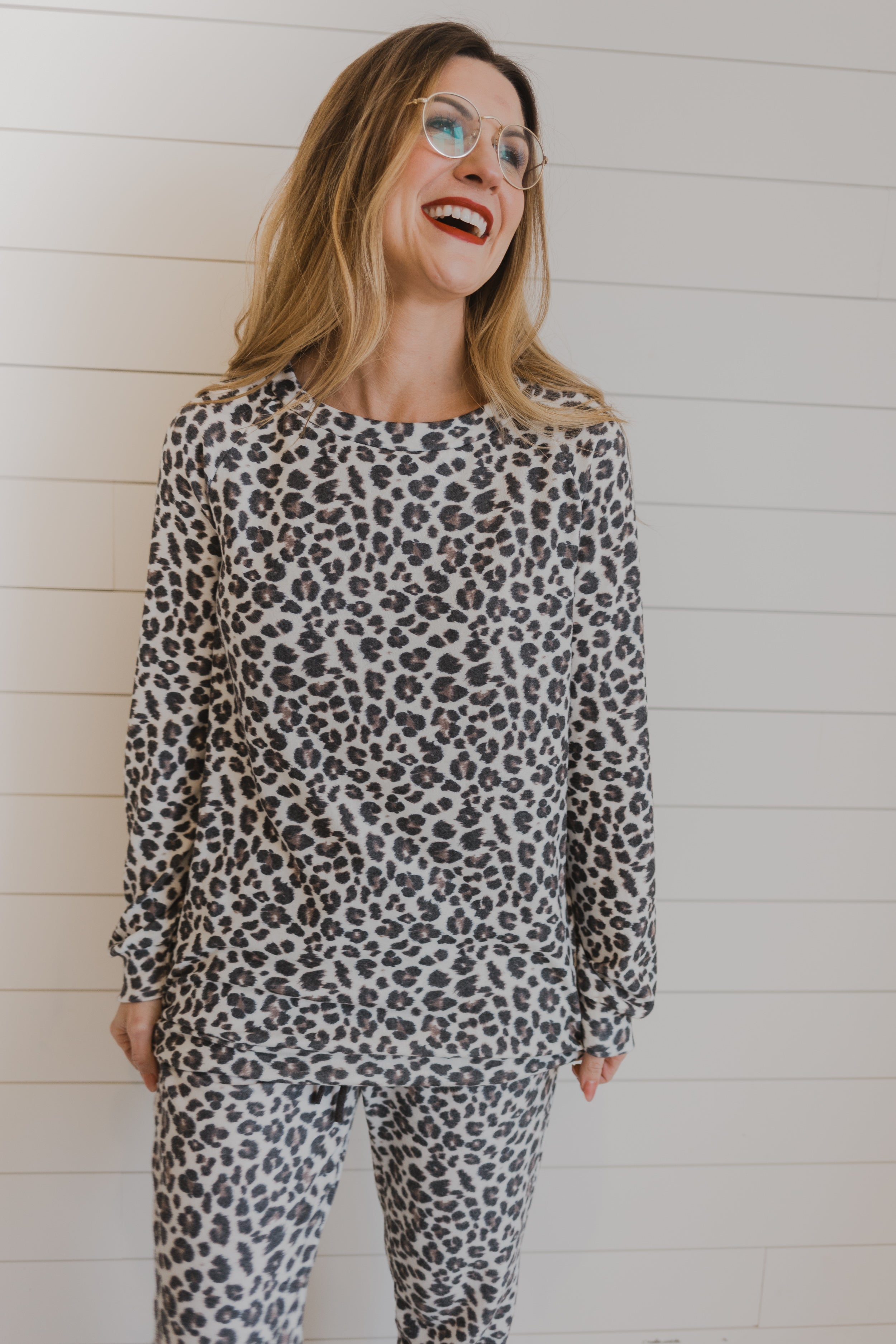 Brushed Leopard PJ Top