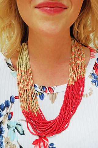 Red/Beige Multi Row Seed Bead Necklace