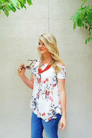 Ivory Floral Print Ribbed Top