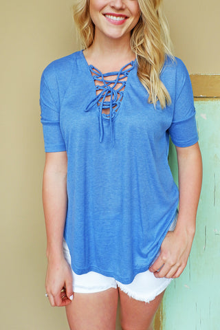 Tea Blue Lace Up Top