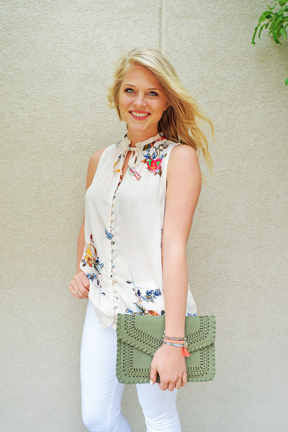 Ivory Ruffle Neck Floral Top