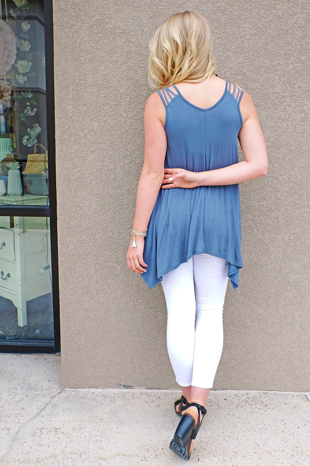 Blue Strappy Pointed Hem Top
