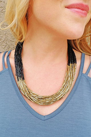 Black/Gold Bead Statement Necklace
