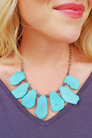 Uneven Flat Stone Necklace