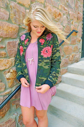 Camo Flower Patched Jacket