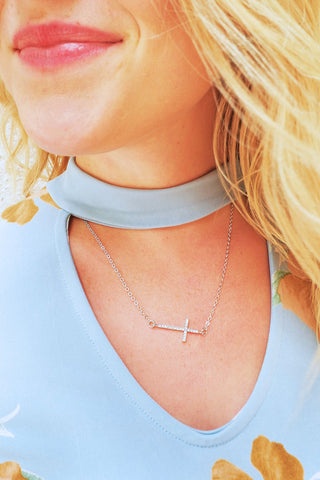 Sideways Pave Cross Necklace