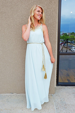 Sea Grass Gold Embellished Maxi Dress