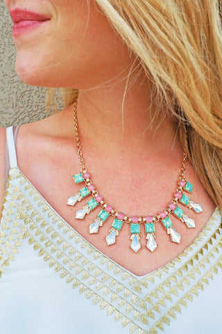 Gold/Pacific Opal Crystal Necklace