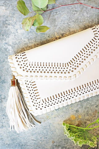Ivory Cut Out Clutch