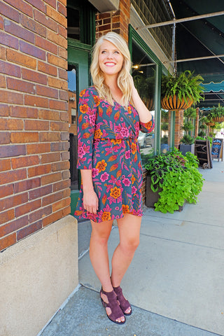 Dark Hunter Floral Wrap Dress