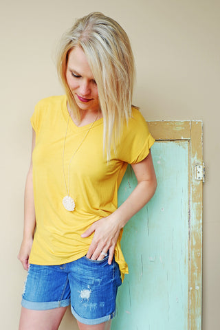 Gold V-Neck T-Shirt