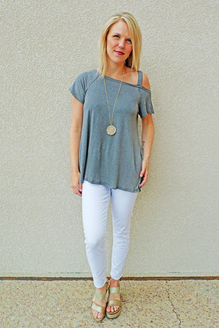 Charcoal Washed Off the Shoulder Tee