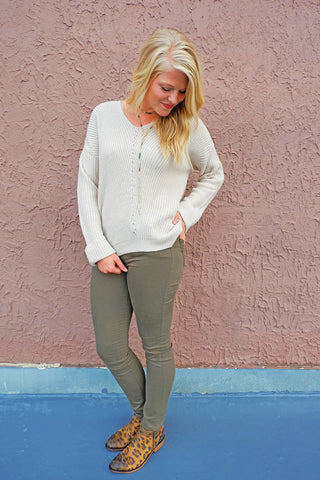 Pale Taupe V-Neck Sweater