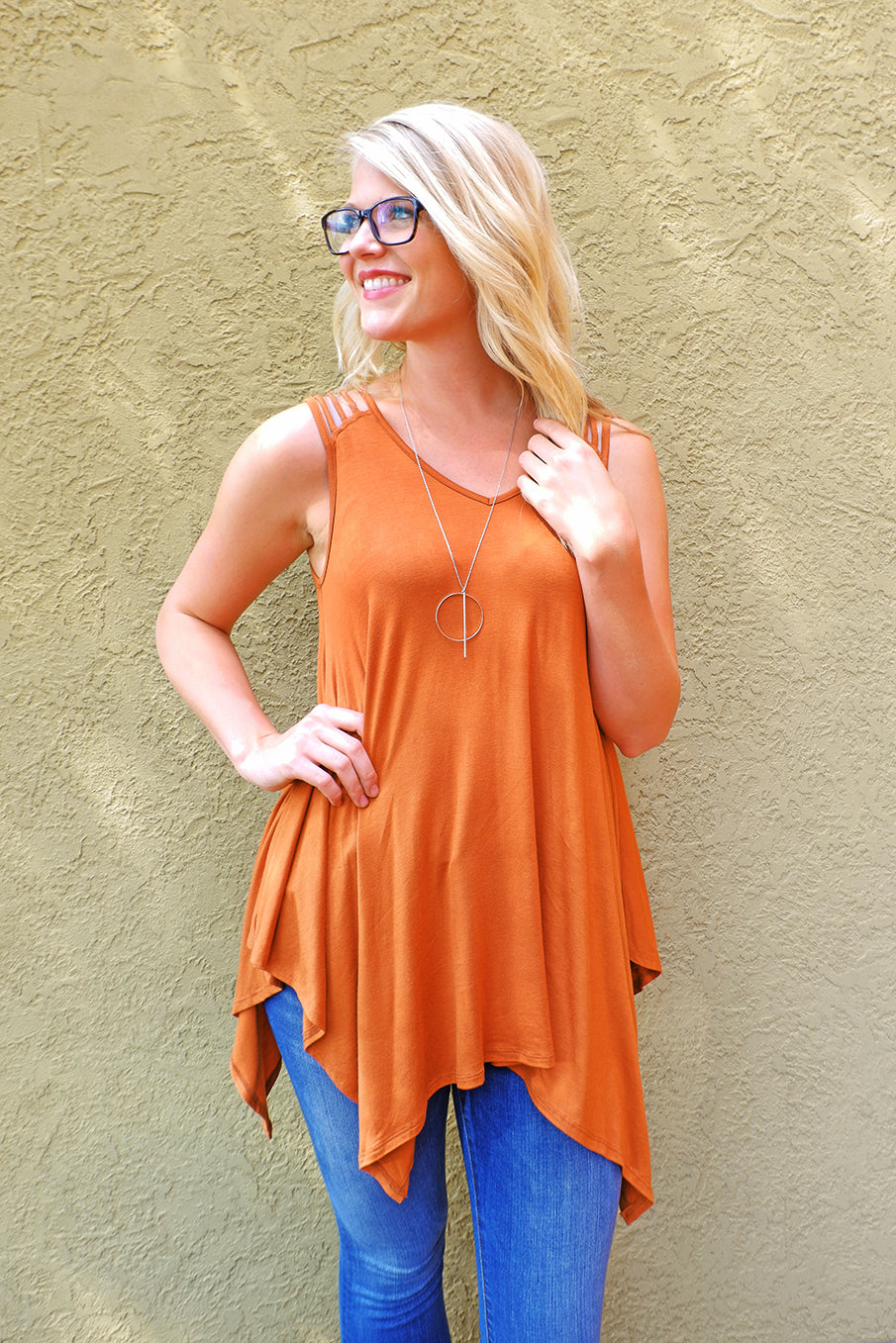 Terracota Strappy Pointed Hem Top