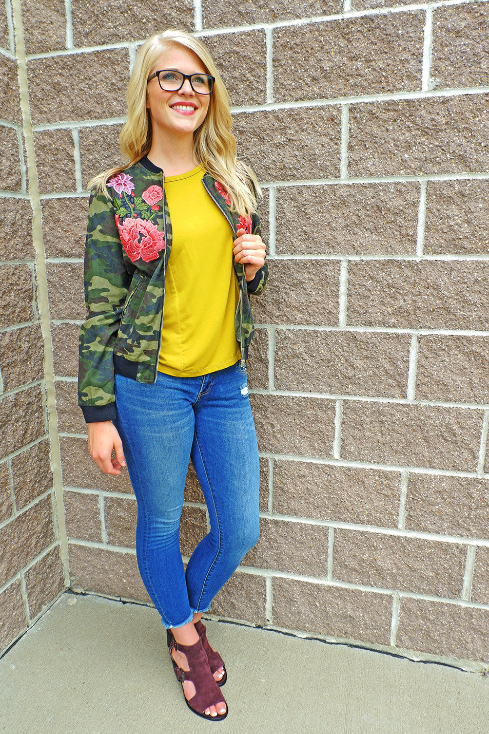 Mustard Cut-Out Shoulder Top