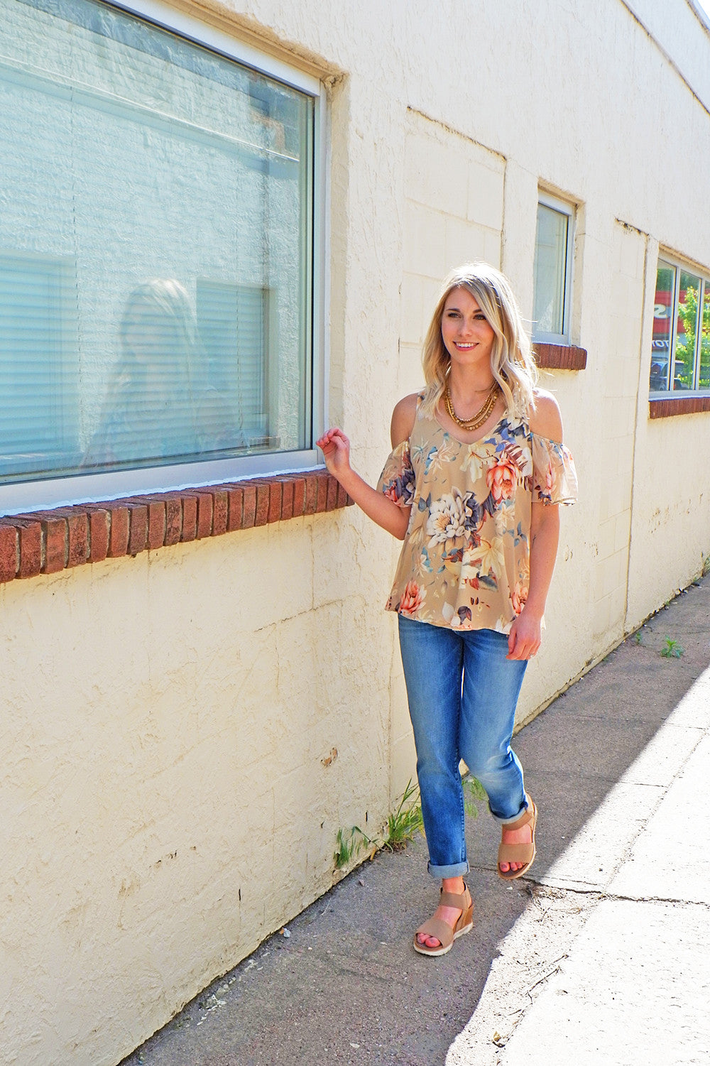 Taupe Multi Flower Cold Shoulder Top