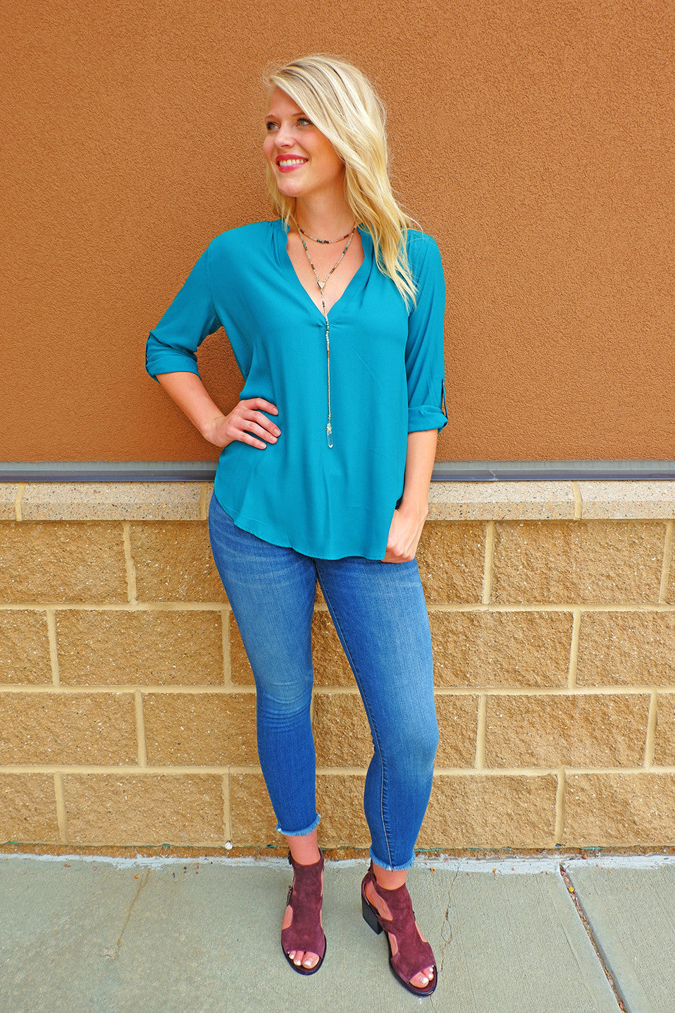 Everglade Green Chiffon V-Neck Top