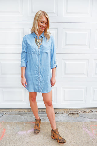 Denim Wash Button Down Tunic