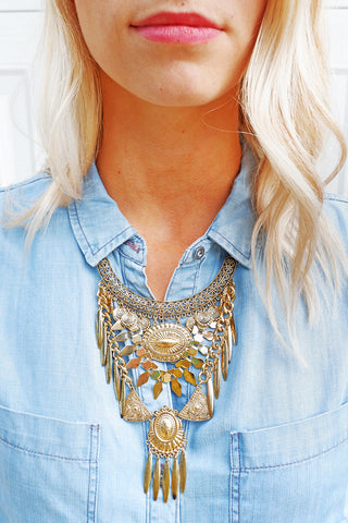 Gold Bib Layer Necklace