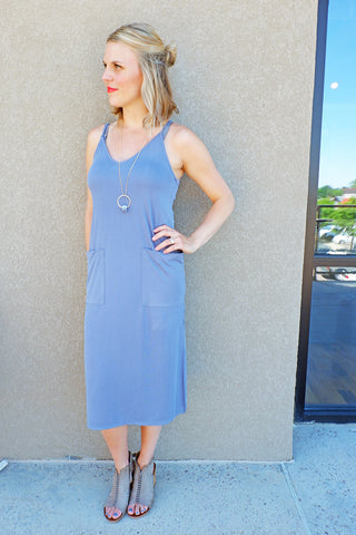 Blue Grey Side Slit Dress