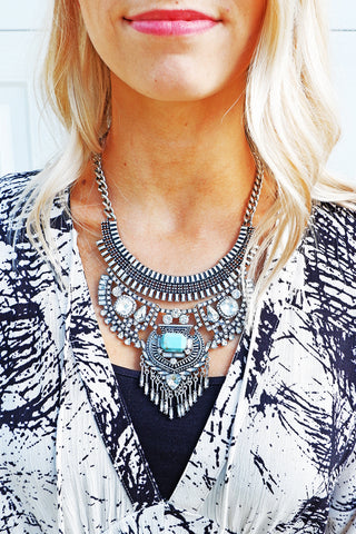 Burnt Silver Paved Crystal Fringe Necklace