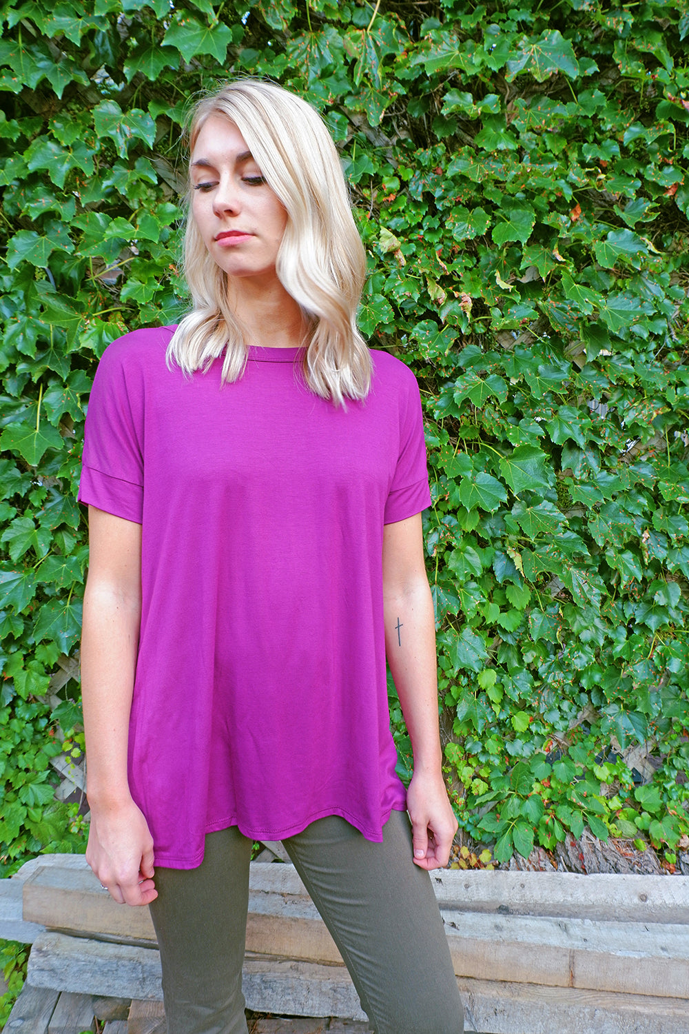 Magenta Criss-Cross Top