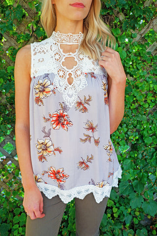 Lavendar Floral High Neck Lace Tank Top