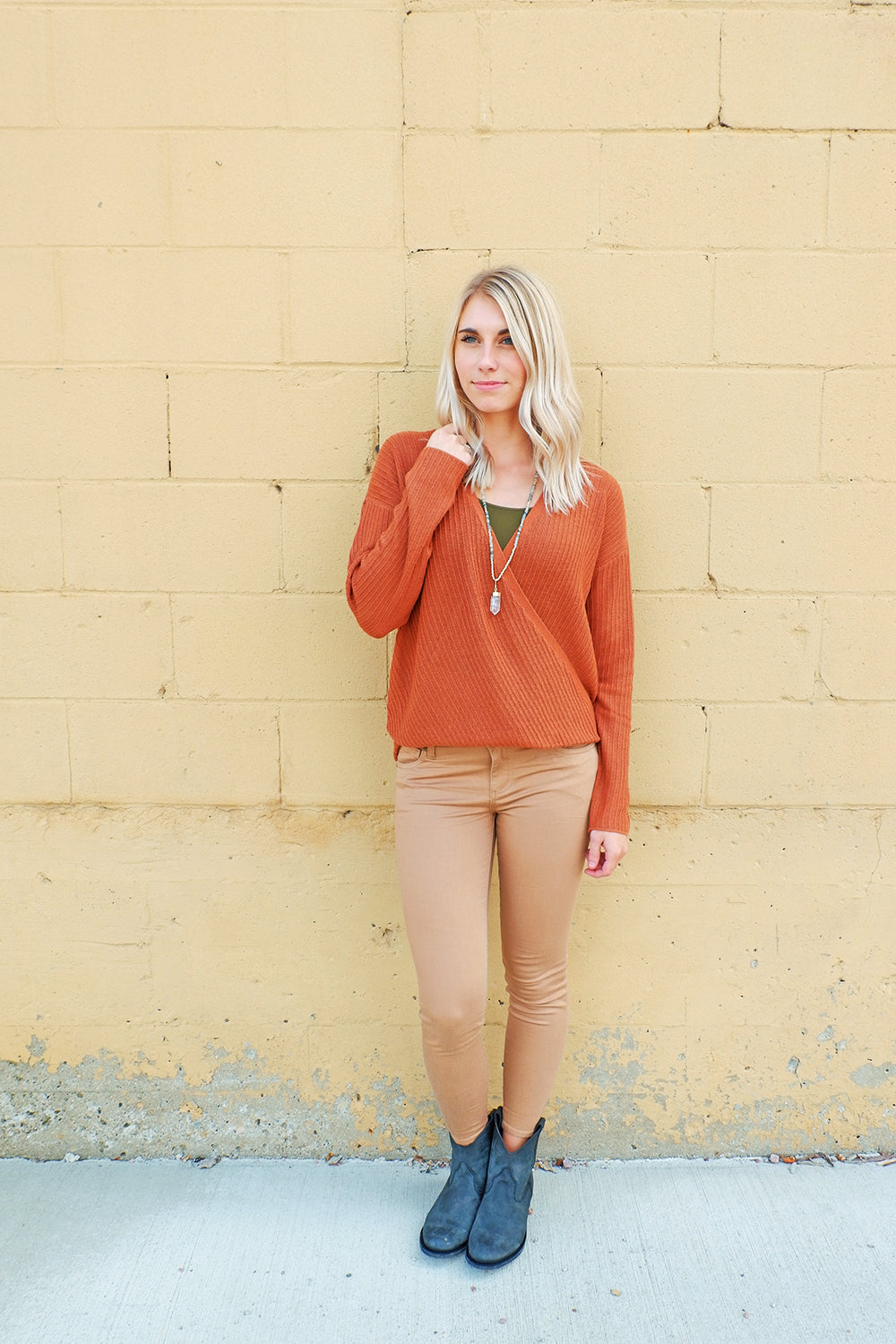 Rust Ribbed Wrap Sweater Top