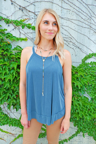 Forest Green Keyhole Back Tank