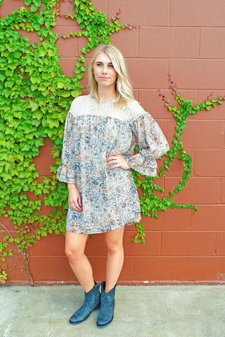 Grey Printed Lace Detail Dress
