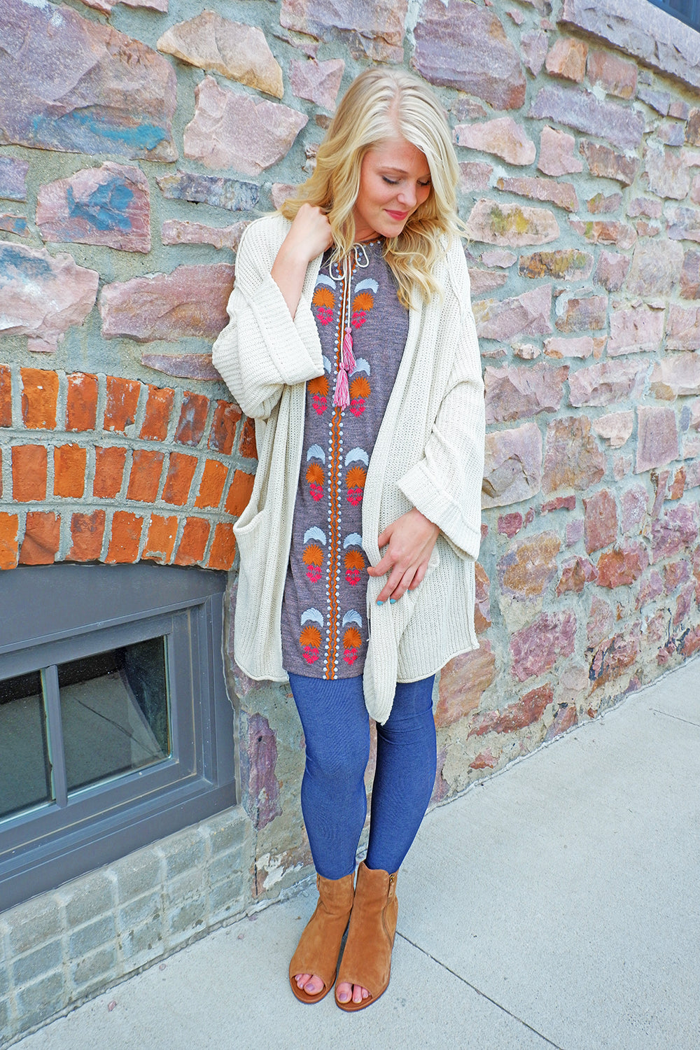 Natural Thick Knit Open Cardigan