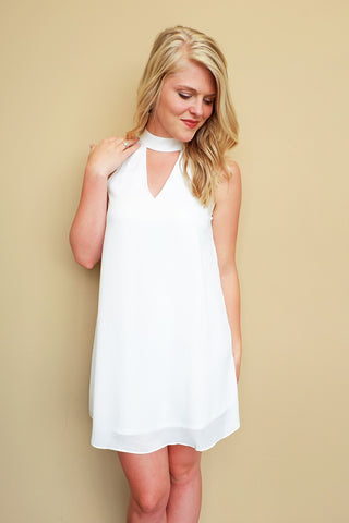 Off White High Collar Dress