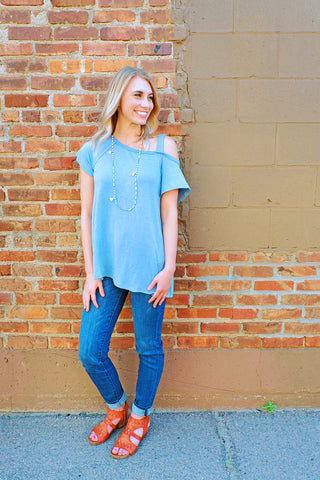 Light Denim Washed One Side Tee
