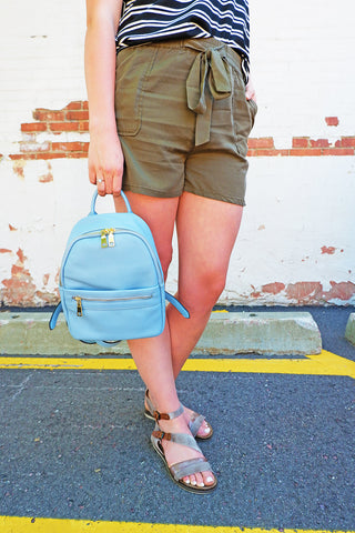 Olive Pull-On Short with Tie
