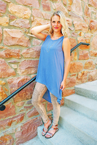 Blue Contrast Back Tunic