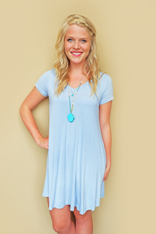 Dusty Blue V-Neck Dress