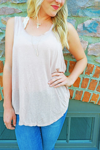 Dusty Rose Draped Muscle Tank