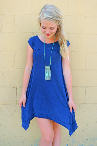 Navy Mineral Washed Dress
