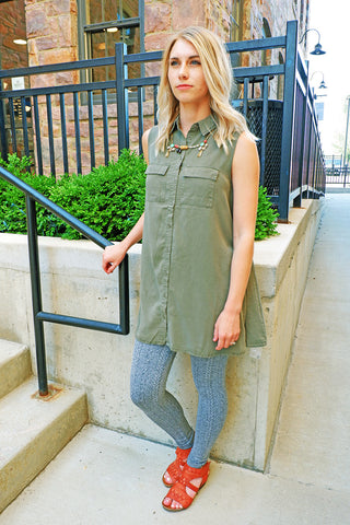 Olive Tencel Shirt Dress