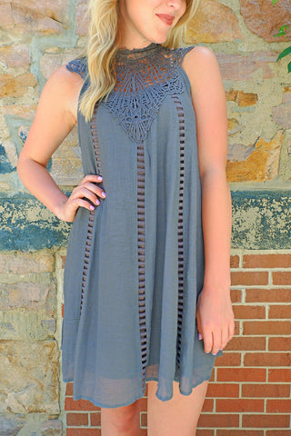 Charcoal Lace Neck Detail Dress