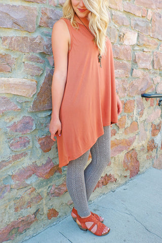 Rust Contrast Back Tunic