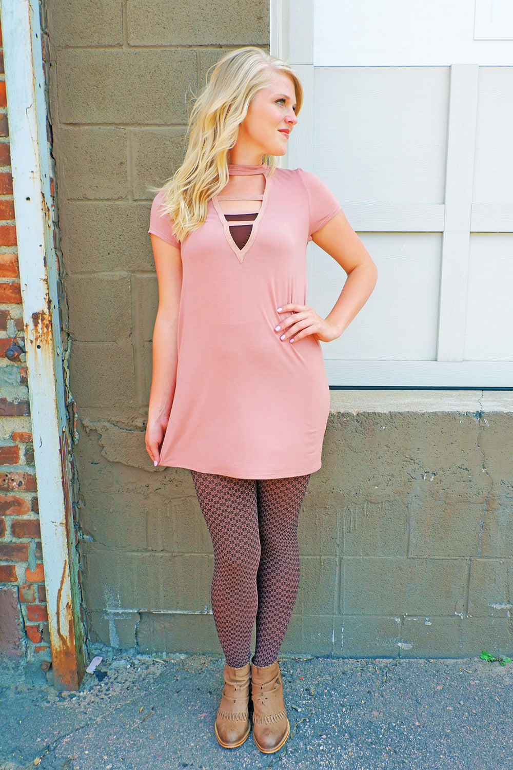 Soft Salmon Lace Up Dress