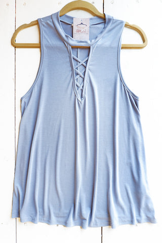 Dusty Blue Strappy Detail Top
