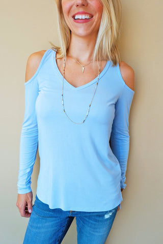 Sky Blue Cold Shoulder Top