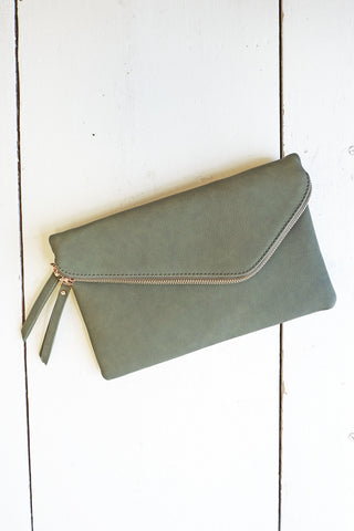 Olive Clutch with Gold Zipper Detail