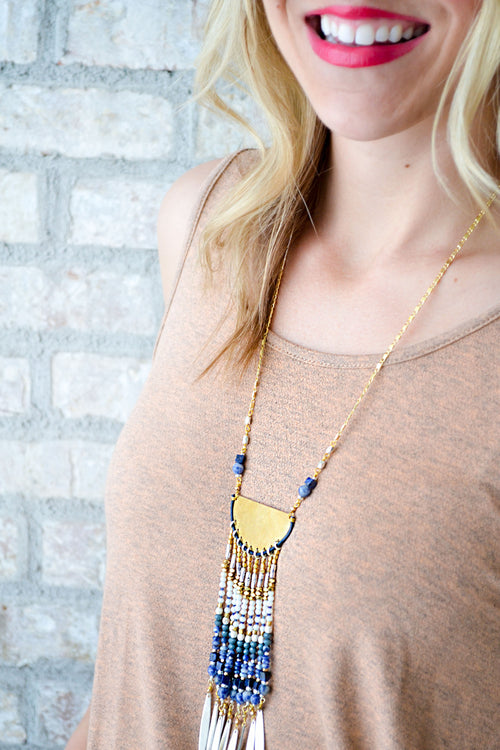 Nakamol Navy/Gold Fan Waterfall Necklace