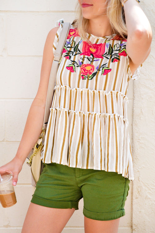Gold Stripe Tiered Top
