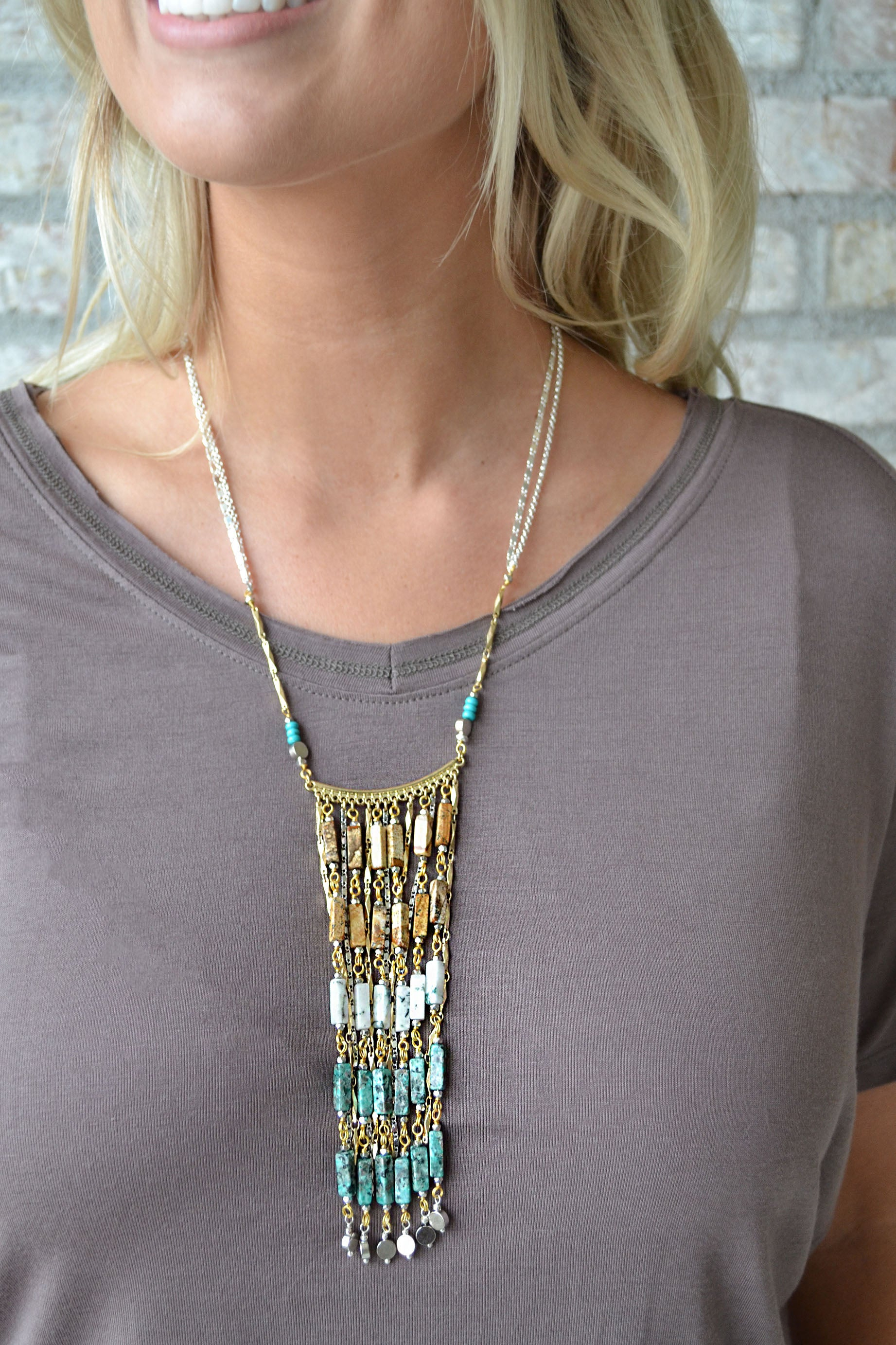 Nakamol Natural Stone Ombre Fan Drop Necklace