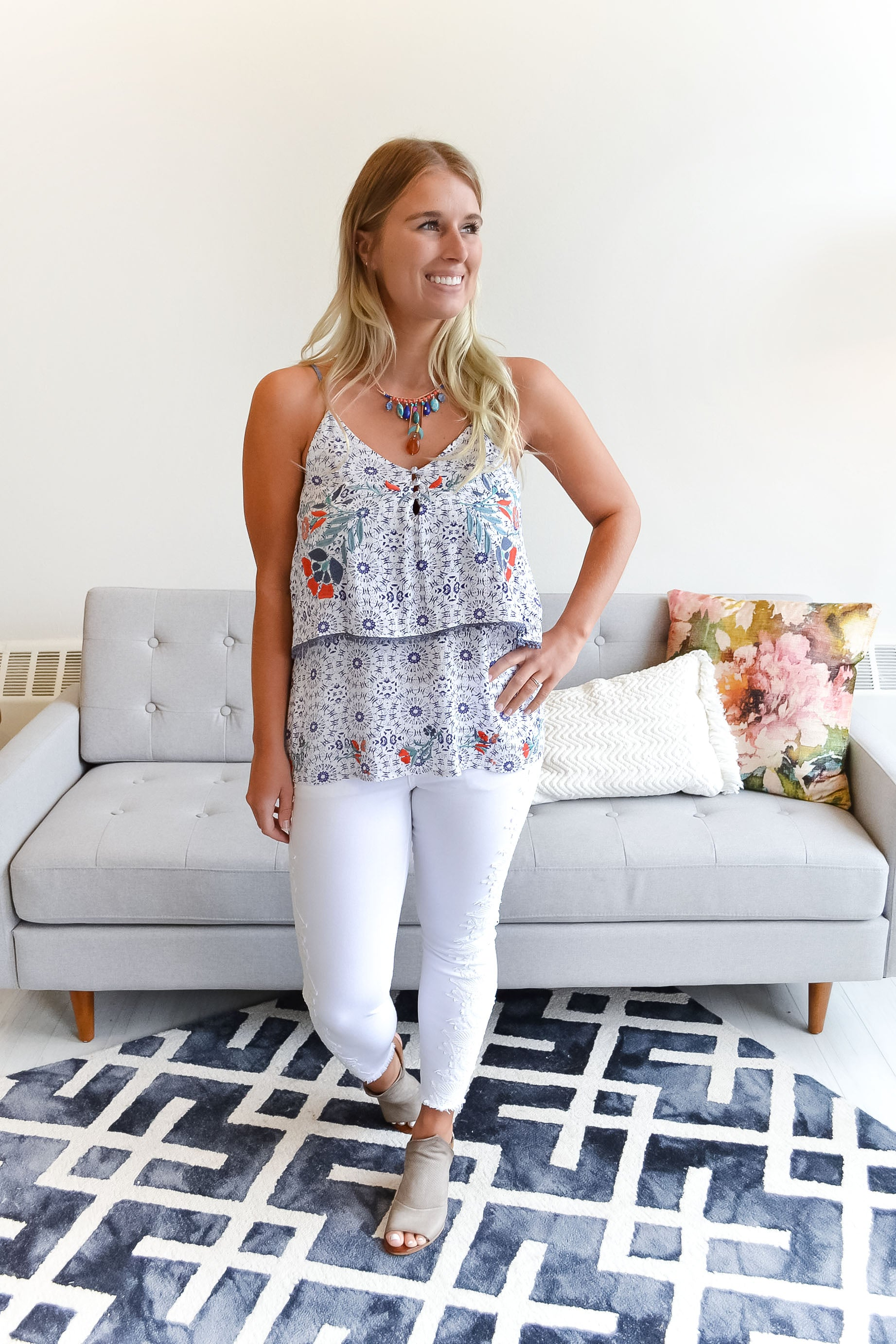 Gracie Embroidered Flounce Top